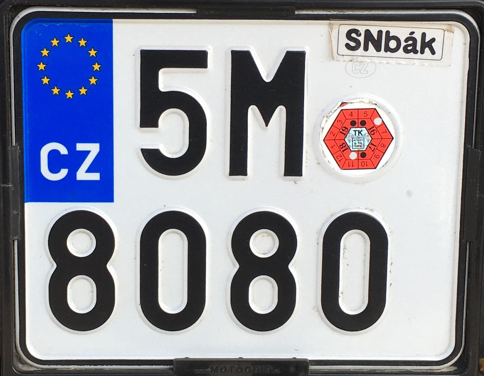 Česká registrační značka - motorková Olomoucký kraj. foto vlastní