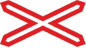 Výstražný kříž pro železniční přejezd jednokolejný