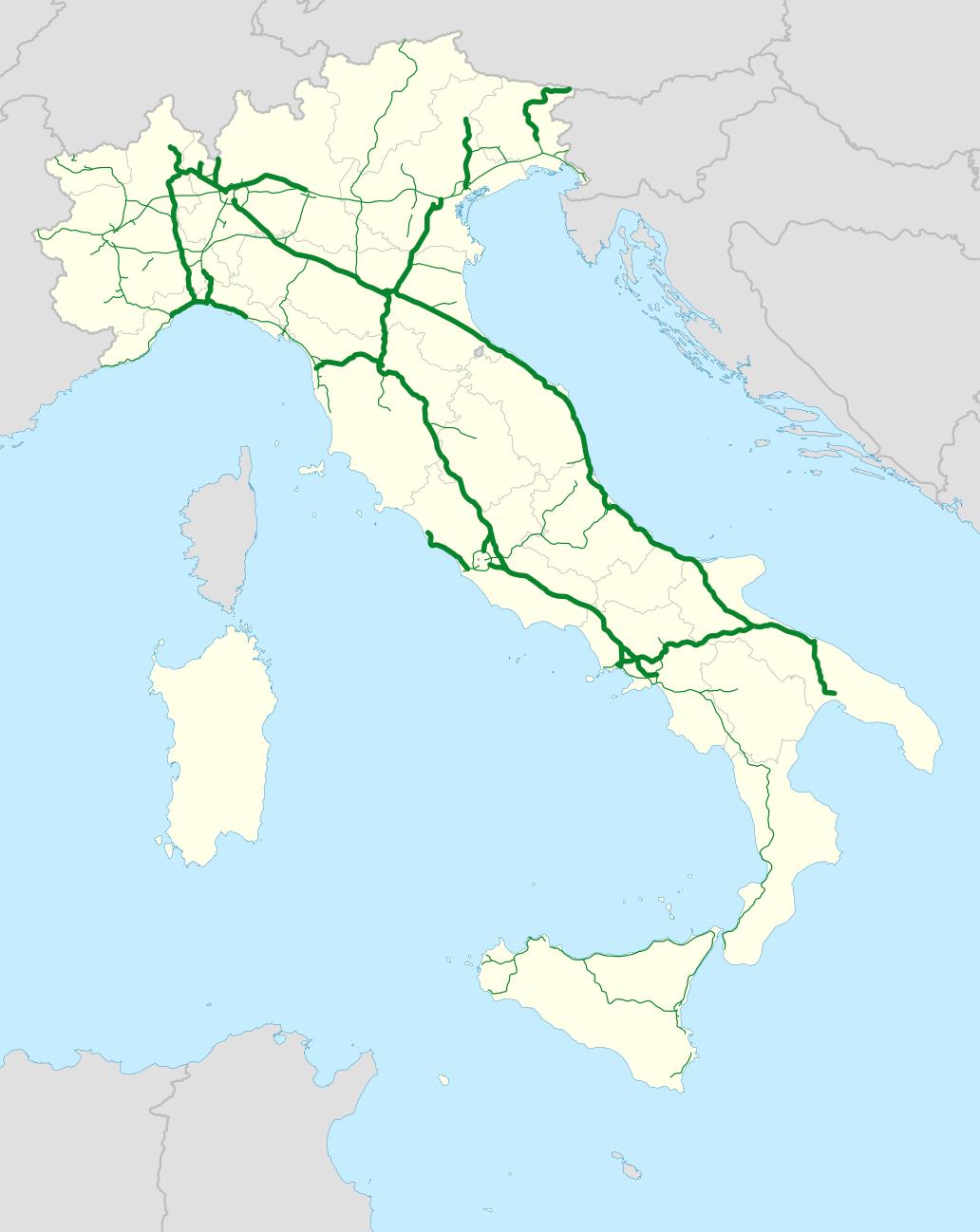 Úseky Autostrade per l'Italia
