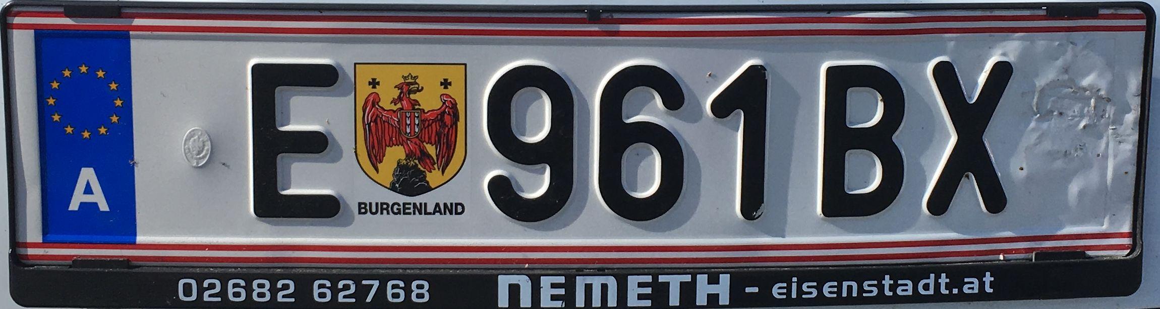 Registrační značka Rakousko - E - Eisenstadt, Rust, foto:www.podalnici.cz