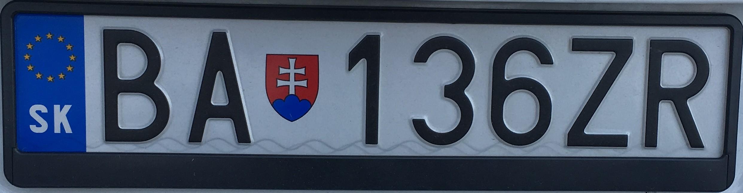 Registrační značka: BA - Bratislava, foto: vlastní