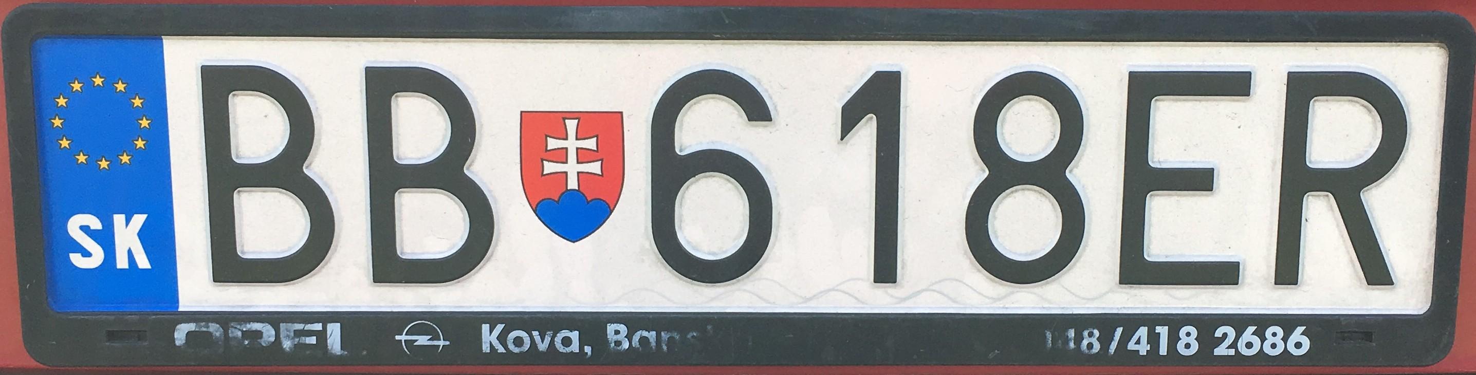 Registrační značka: BB - Banská Bystrica, foto: vlastní