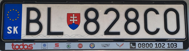 Registrační značka: BA, BL - Bratislava, foto: vlastní
