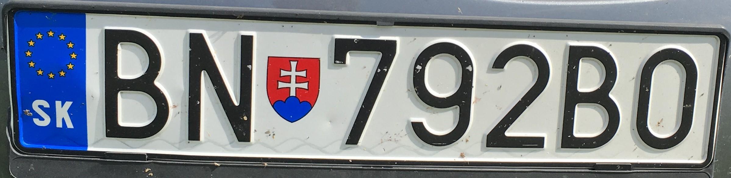 Registrační značka: BN - Bánovce nad Bebravou, foto: vlastní