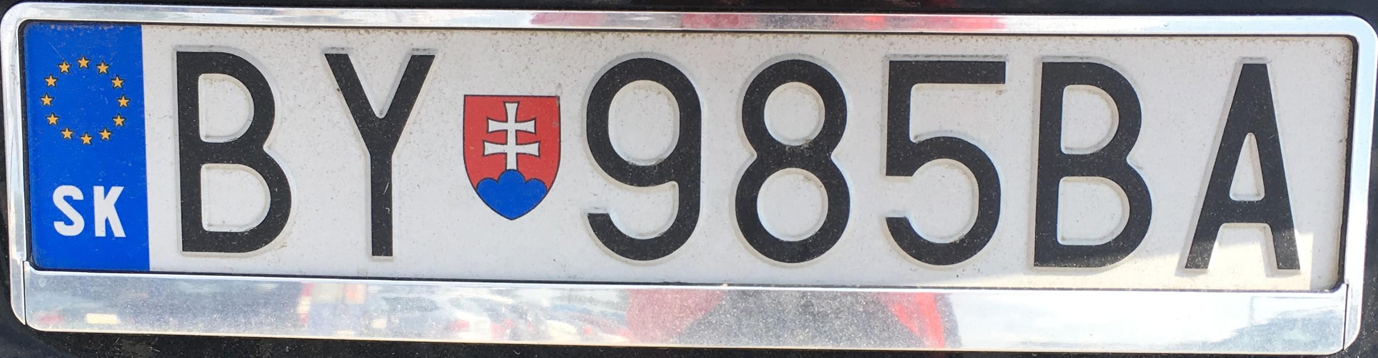 Registrační značka: BY - Bytča, foto: vlastní
