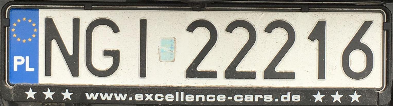 Registrační značka Polsko - NGI - Giżycko, foto: www.podalnici.cz