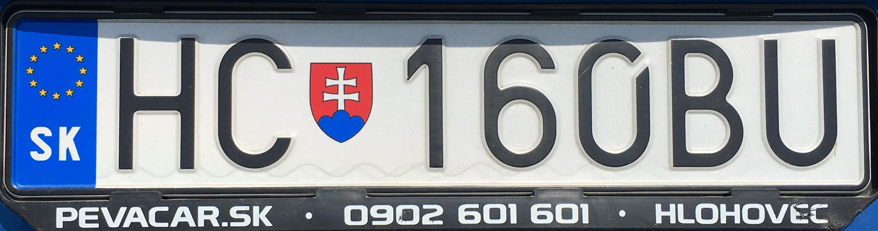 Registrační značka: HC - Hlohovec, foto: vlastní
