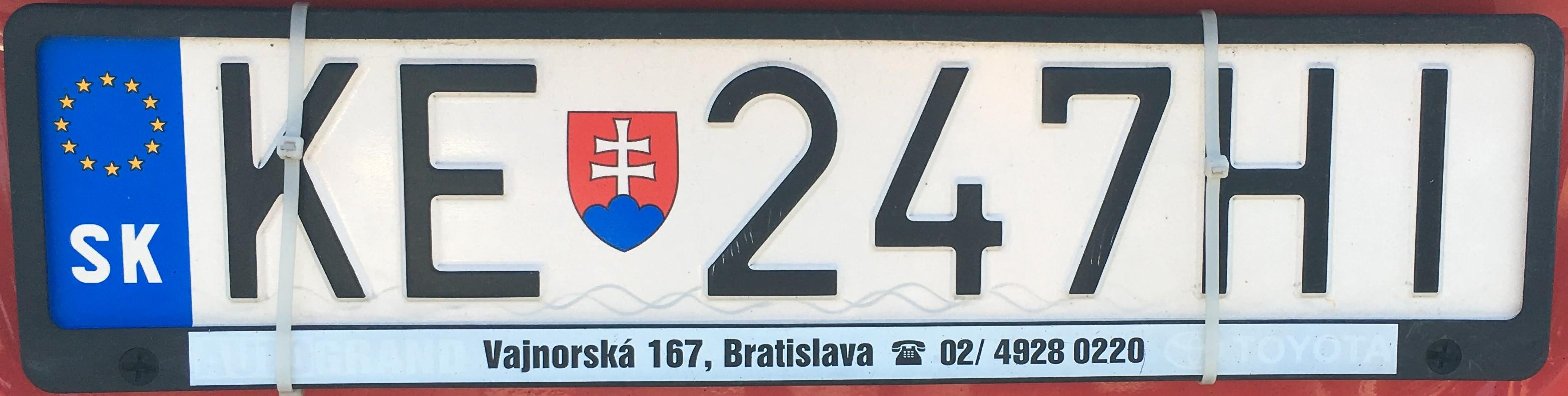 Registrační značka: KE - Košice