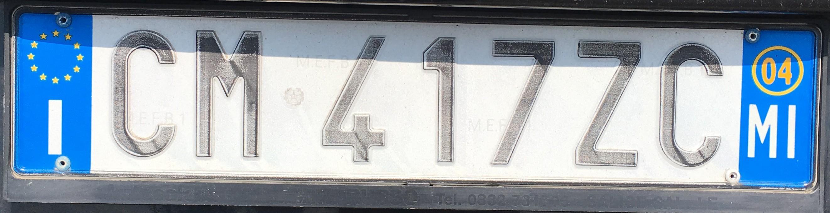 Registrační značka Itálie - MI -Milano, foto: vlastní
