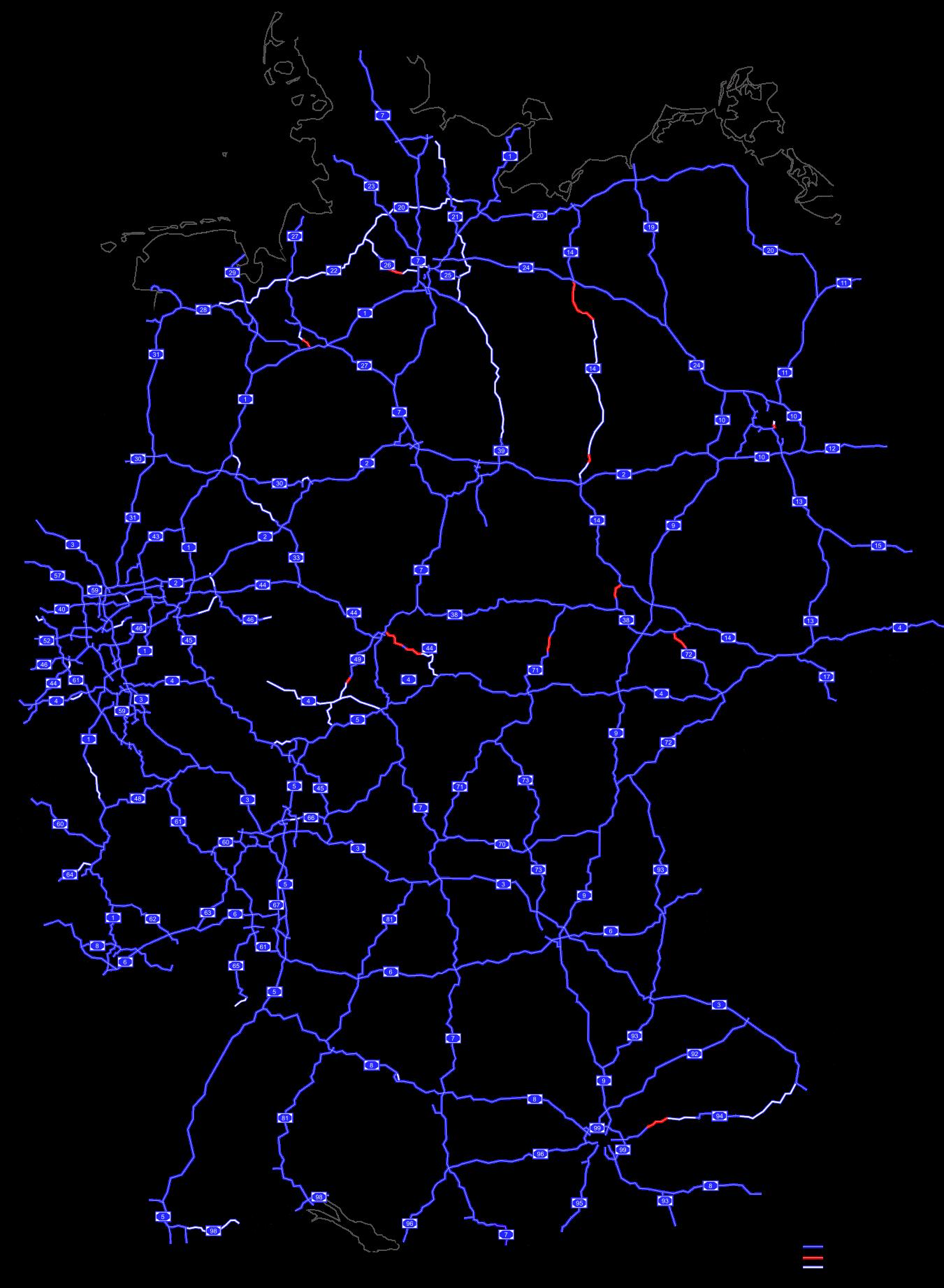 Mapa dálniční sítě v Německu