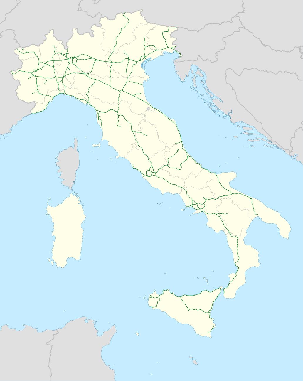 Mapa italské dálniční sítě