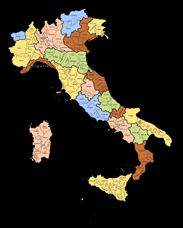 Mapa italských regionů a provincií