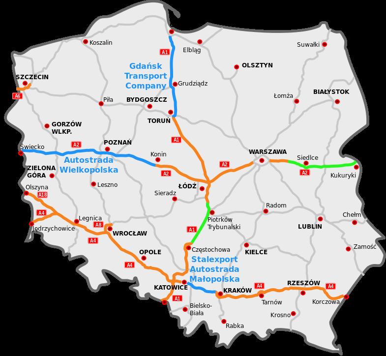 Mapa polské dálniční sítě včetně plánovaných úseků