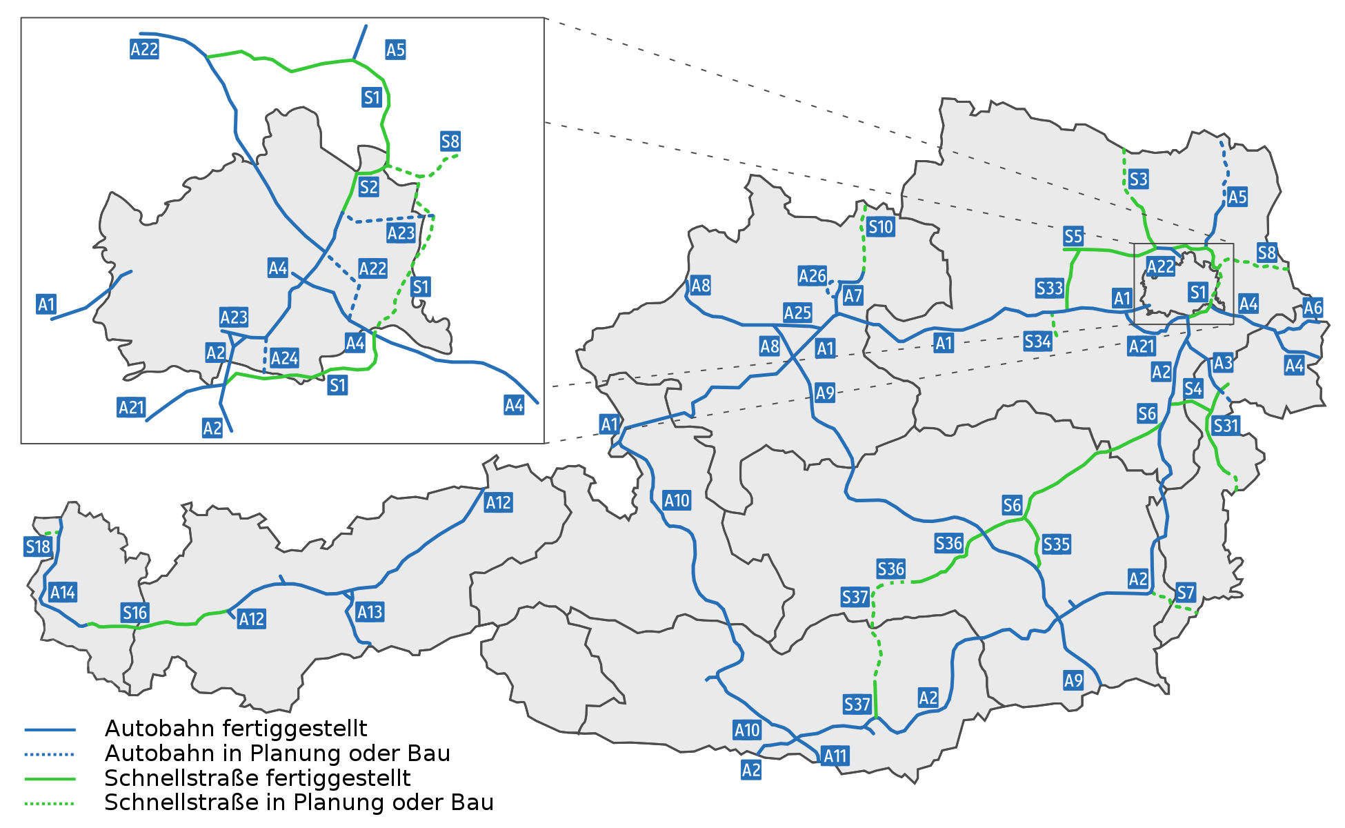 Mapa rakouské dálniční sítě