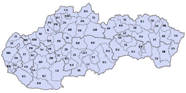 Mapa slovenských okresních kódů registračních značek