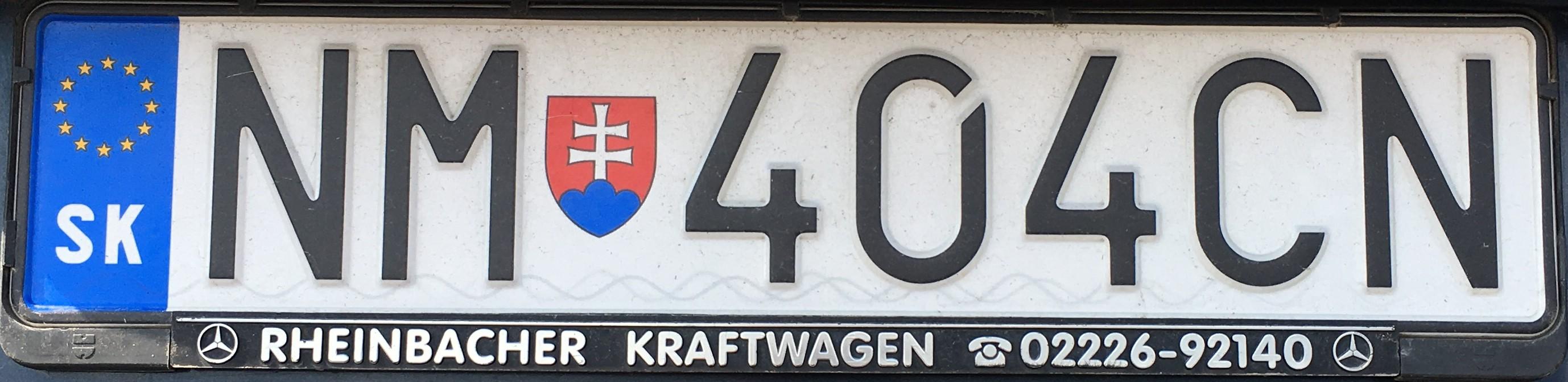 Registrační značka: NM - Nové Mesto nad Váhom, foto: vlastní