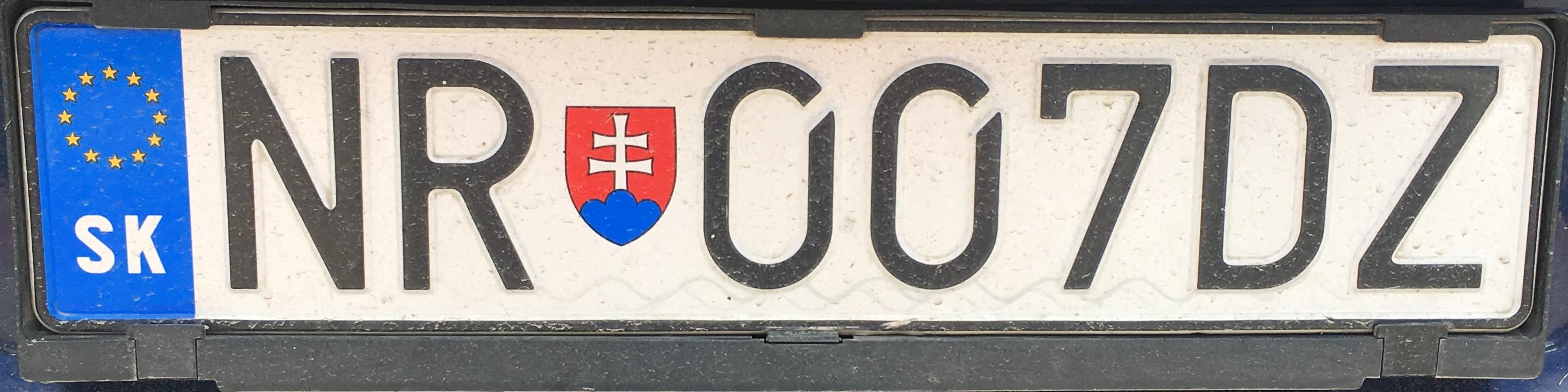 Registrační značka: NR - Nitra, foto: vlastní