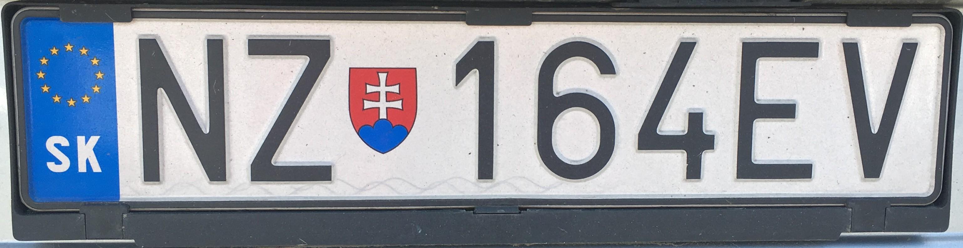Registrační značka: NZ - Nové Zámky, foto: vlastní