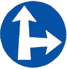 Přikázaný směr jízdy přímo a vpravo