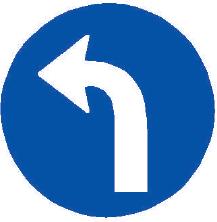Přikázaný směr jízdy vlevo