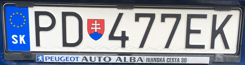 Registrační značka: PD - Prievidza, foto: vlastní