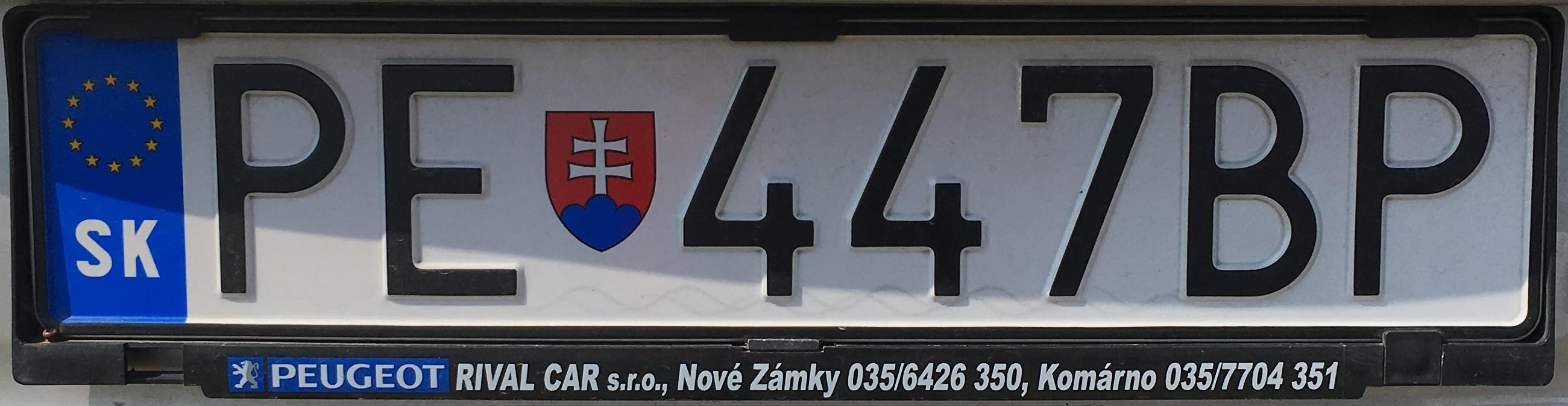 Registrační značka: PE - Partizánské, foto: vlastní