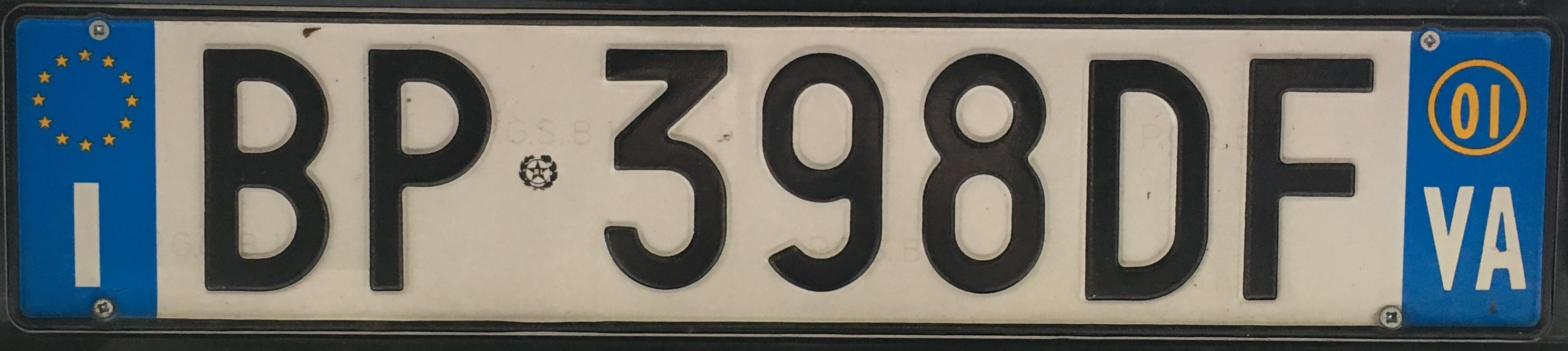 Registrační značka Itálie - VA - Varese, foto: vlastní