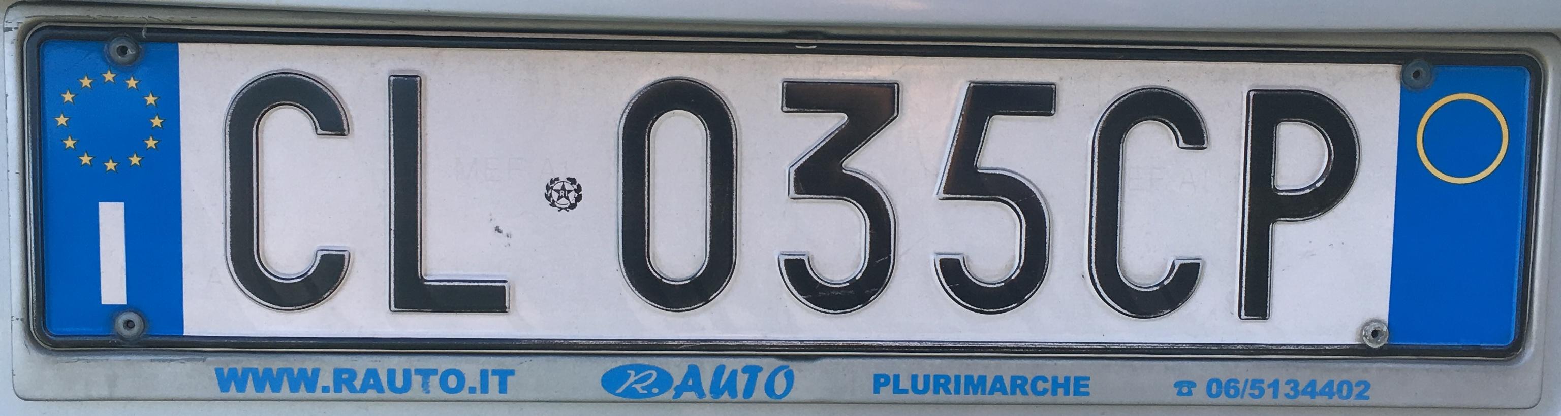 Registrační značka Itálie - bez provincie, foto: vlastní