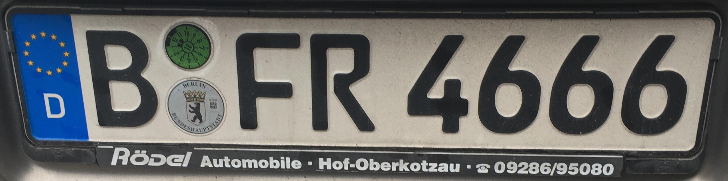Registrační značka Německo - B - Berlin, foto: www.podalnici.cz