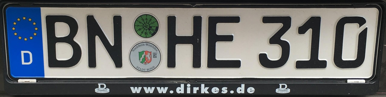 Registrační značka Německo - BN - Bonn, foto: vlastní