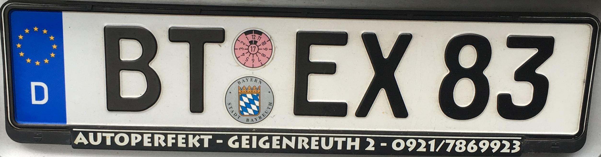 Registrační značka Německo - BT - Bayreuth, foto: www.podalnici.cz