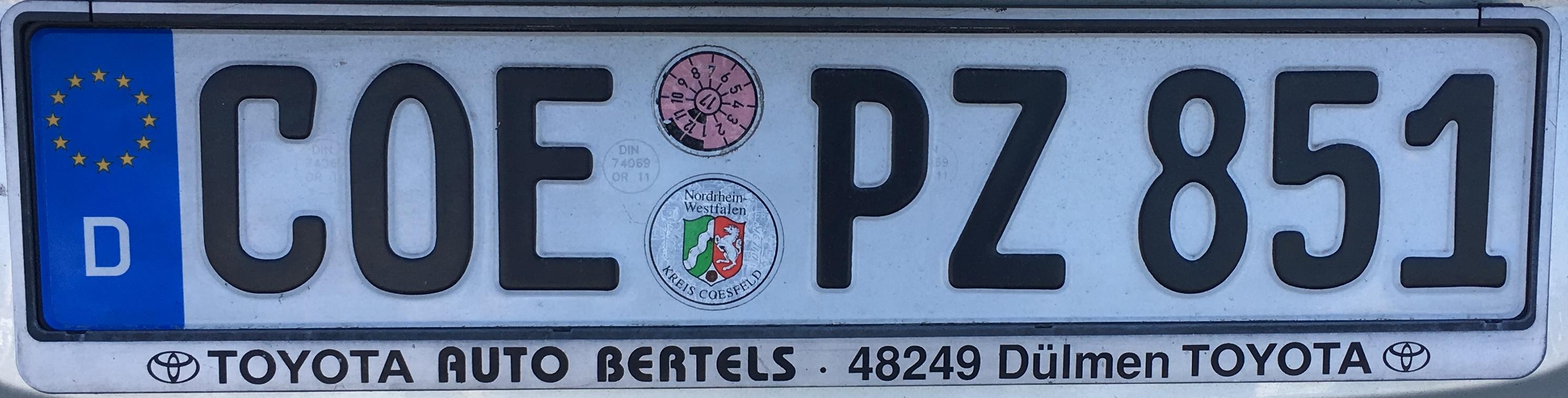 Registrační značka Německo - COE - okres Coesfeld, foto: vlastní
