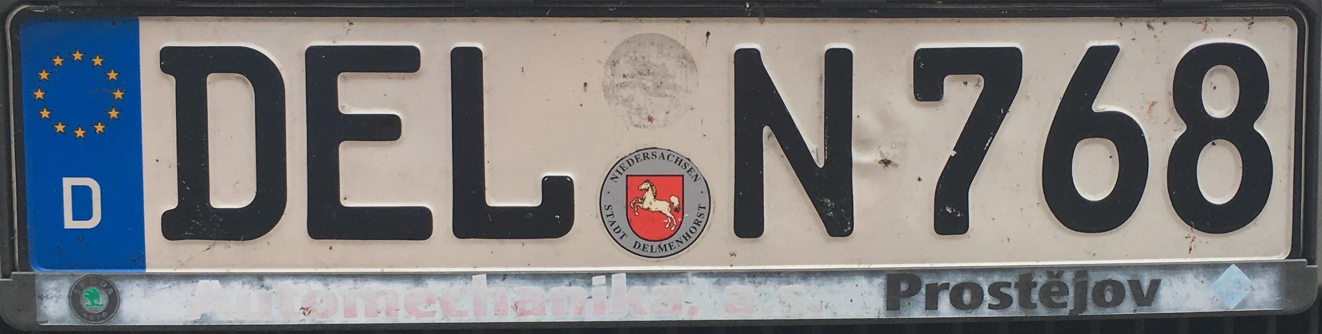 Registrační značka Německo - DEL - Delmenhorst, foto: vlastní