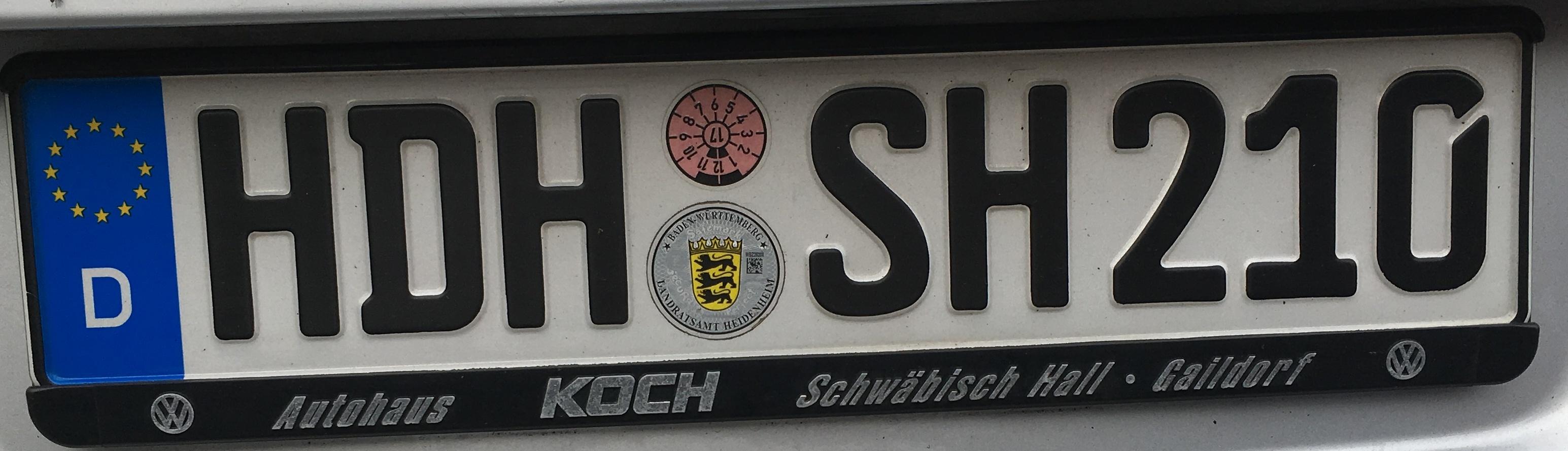 Registrační značka Německo - HDH - Heidenheim, foto: vlastní