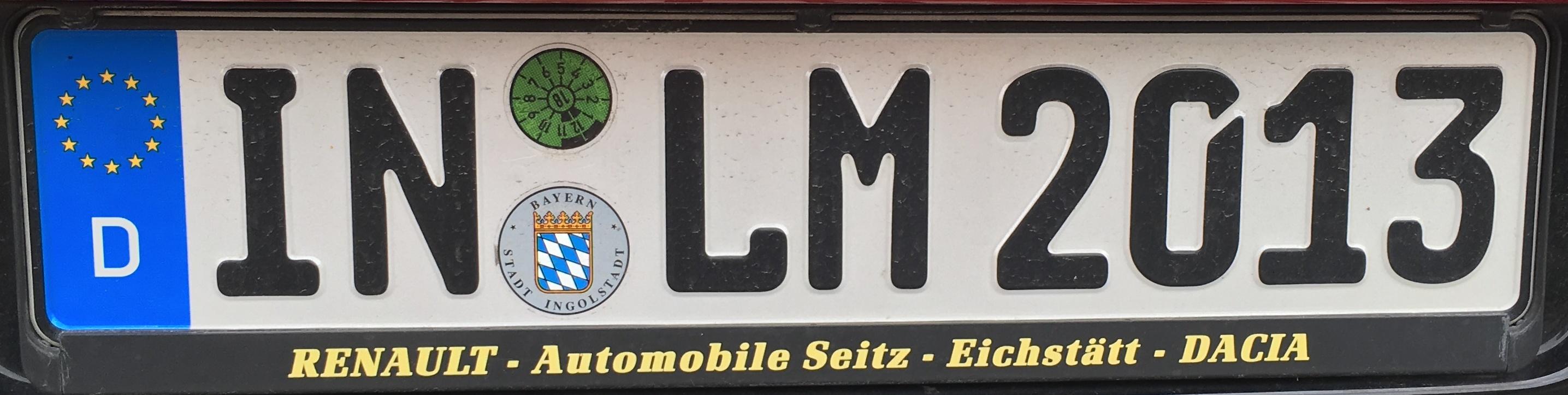 Registrační značka Německo - IN - město Ingolstadt, foto: vlastní