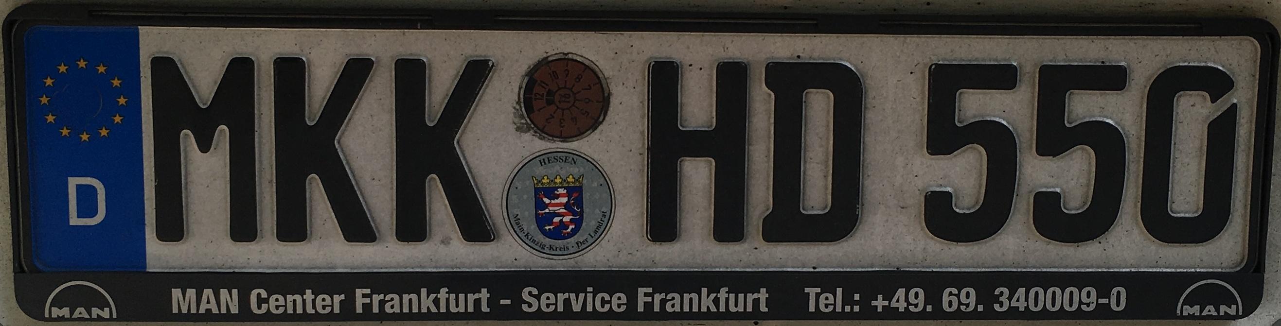 Registrační značka Německo - MKK - Main-Kinzig-Kreis, foto: vlastní