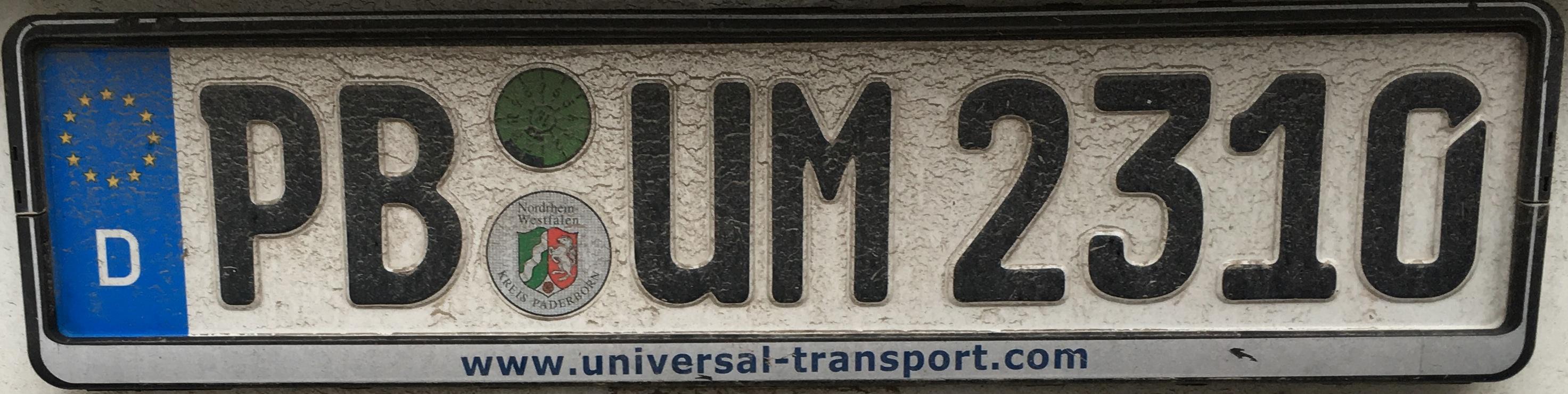 Registrační značka Německo - PB - Paderborn, foto: www.podalnici.cz
