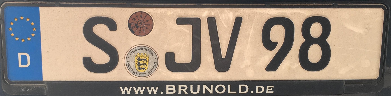 Registrační značka Německo - S - Stuttgart, foto: vlastní