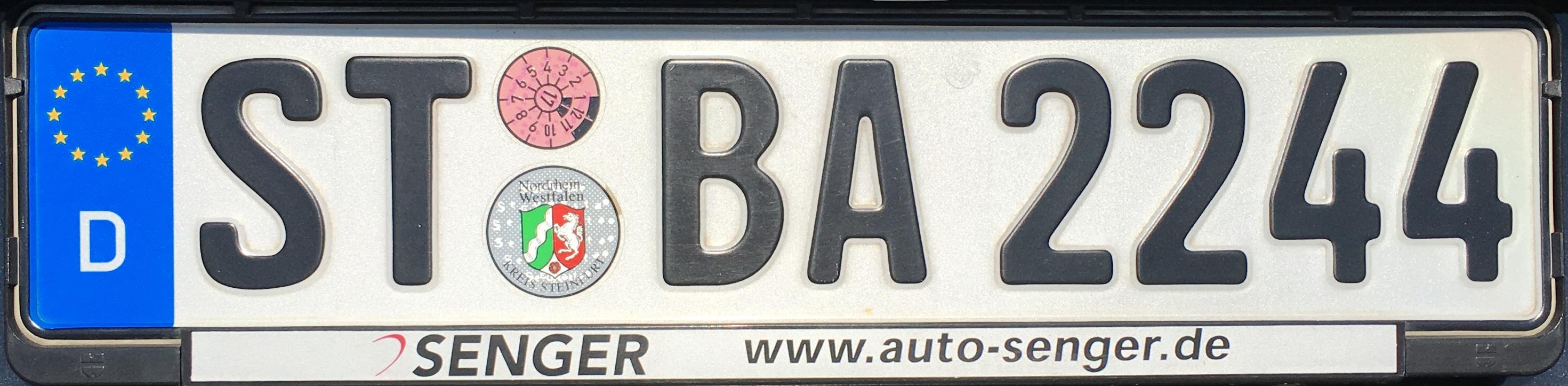 Registrační značka Německo - ST - okres Steinfurt, foto: vlastní