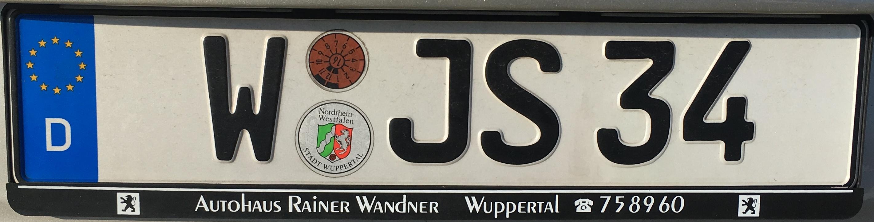 Registrační značka Německo - W - Wuppertal, foto: www.podalnici.cz