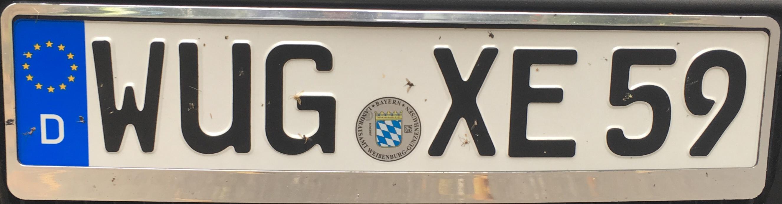 Registrační značka Německo - WUG- Weissenburg-Gunzenhausen, foto: vlastní