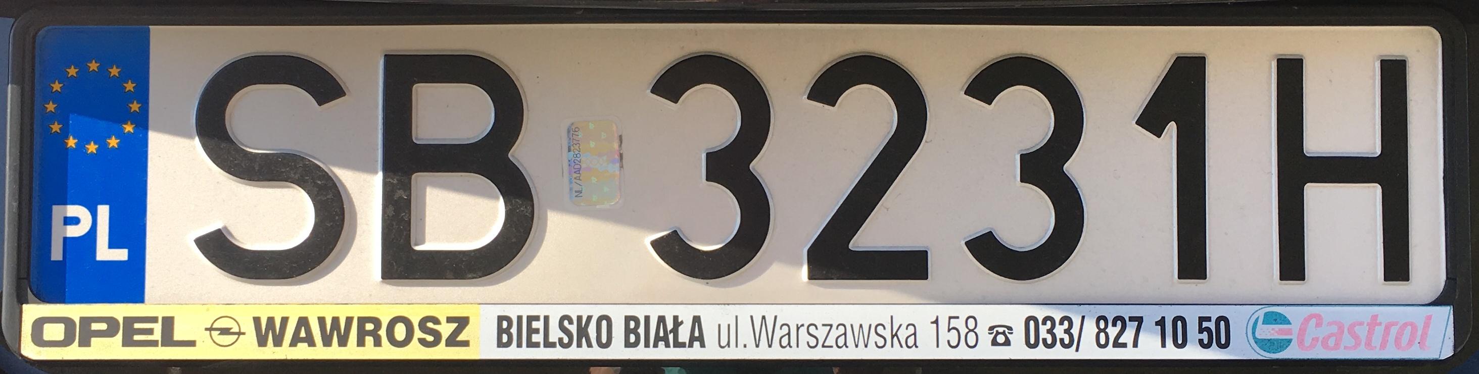 Registrační značka Polsko – SB – Bielsko-Biała, foto: vlastní