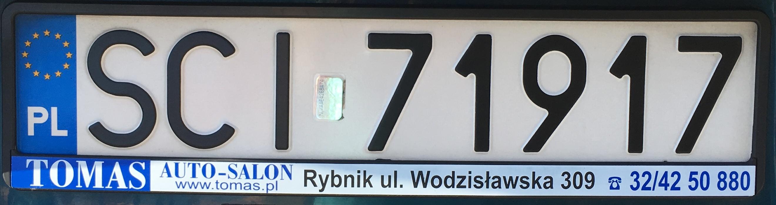 Registrační značka Polsko – SCI – Cieszyn, foto: vlastní