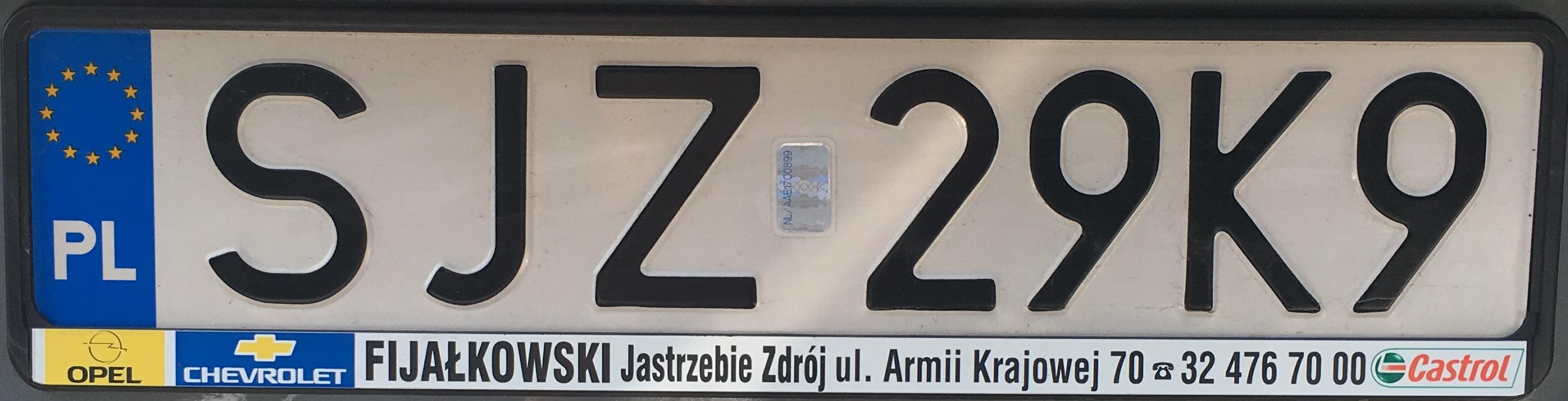 Registrační značka Polsko – SJZ-Jastrzebie-Zdrój, foto: vlastní