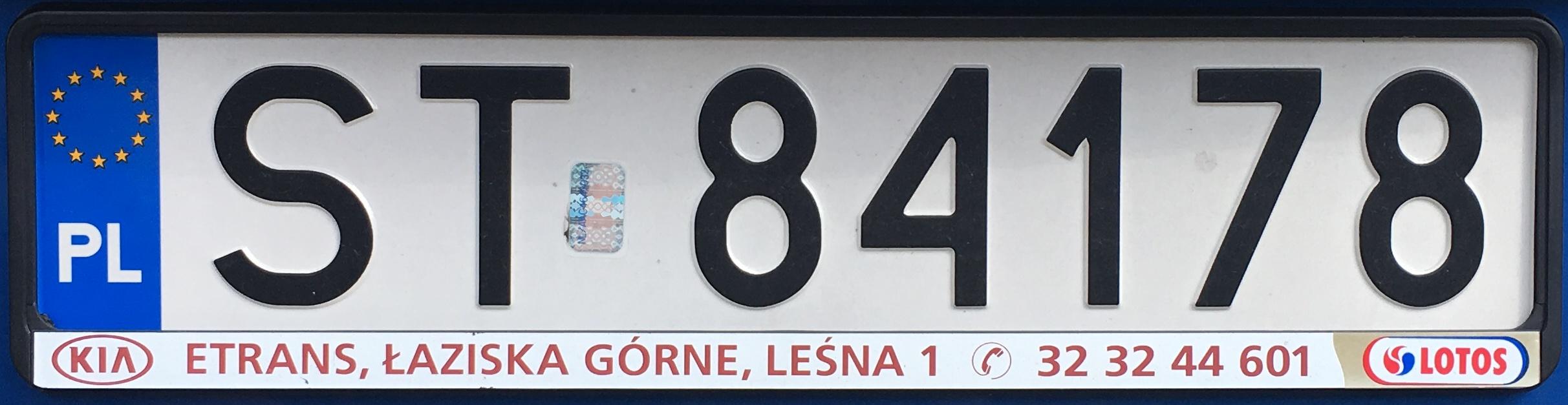 Registrační značka Polsko – ST – Tychy, foto: vlastní