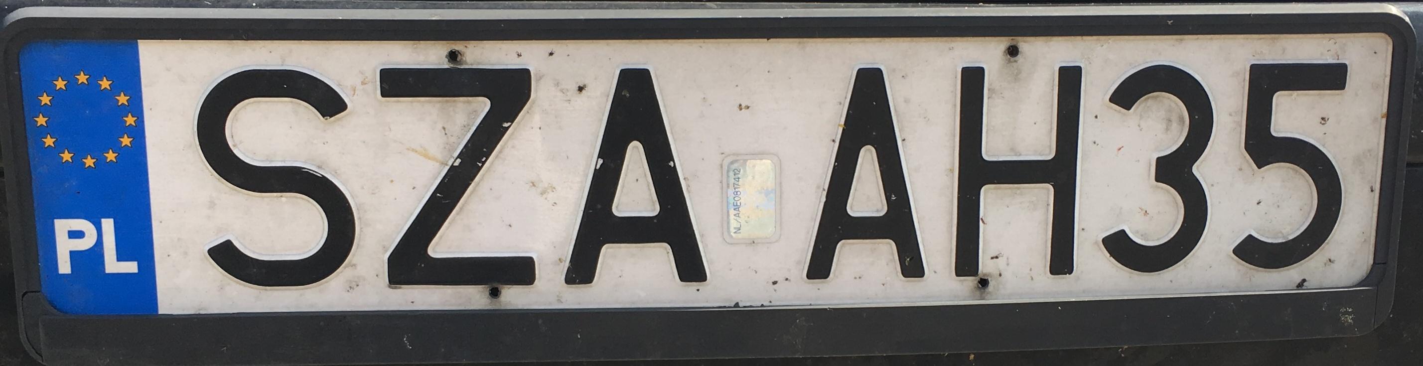 Registrační značka Polsko – SZA – Zawiercie, foto: vlastní