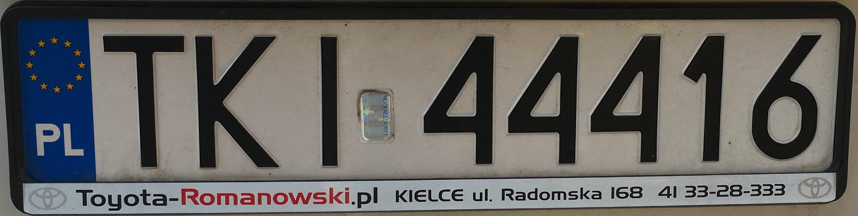 Registrační značka Polsko – TKI – Kielce-venkov, foto: vlastní