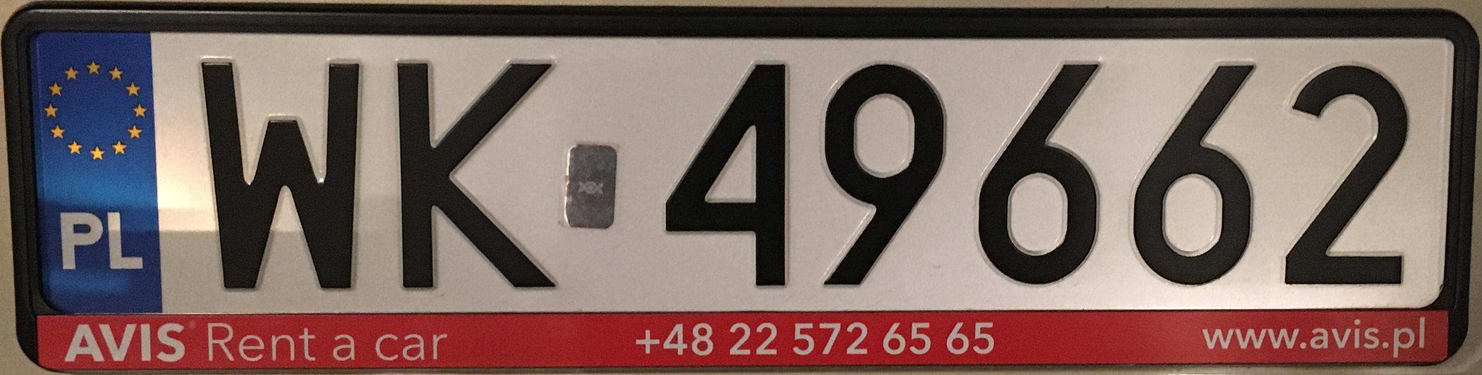 Registrační značka Polsko – WK – Warszawa-Ursus, foto: vlastní
