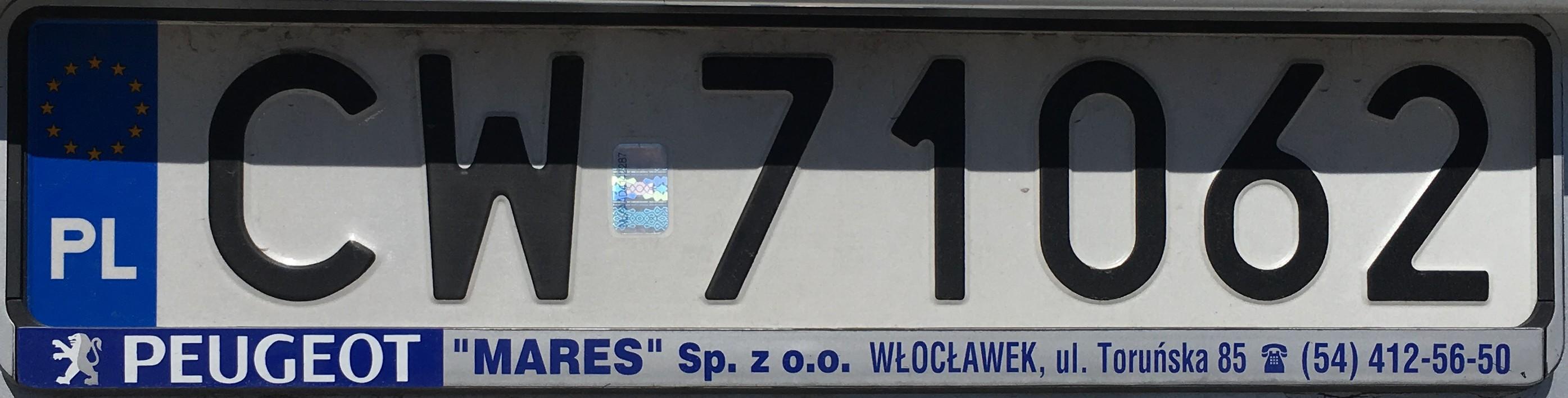 Registrační značka Polsko - CW - Włocławek, foto: vlastní