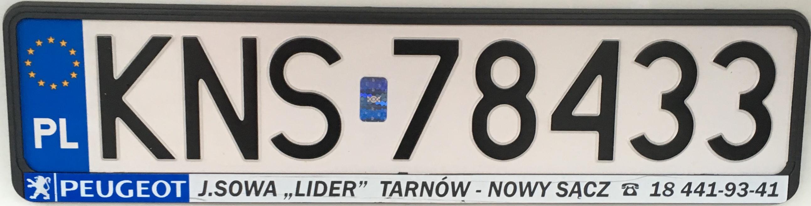 Registrační značka Polsko - KNS - Nowy Sacz-venkov, foto: vlastní